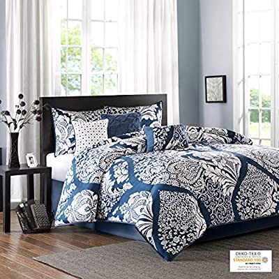 Madison Park Vienna Queen Size Bed Comforter Set Bed in A Bag - Indigo Blue, Damask – 7 Pieces Bedding Sets – Cotton Bedroom Comforters (MP10-3829)