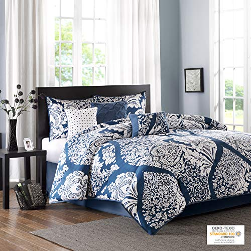 "Madison Park Sateen Cotton Comforter Set-Traditional Luxe Design All Season Lightweight Bedding, Shams, Bedskirt, Decorative Pillows, Queen(90""x90""), Indigo 7 Piece"