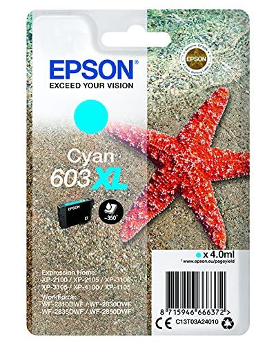 Epson 603XL Etoile de Mer Cyan, Cartouche d'encre d'origine XL Haute capacité, XP-2100 XP-2105 XP-2150 XP-2155 XP-3100 XP-3150 XP-4100 XP-4150 WF-2810DWF WF-2820 WF-2830DWF WF-2840 WF-2850DWF WF-2870