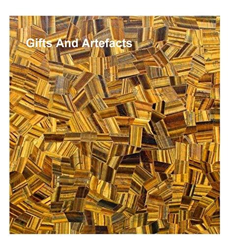 Gifts and Artefakte Handarbeit Marmor Konferenztisch-Einsatz mit Tigeraugen-Edelsteinen mit Zufallsarbeit für den Flur, 106,7 cm