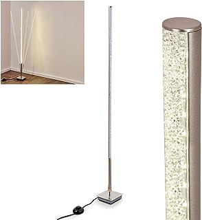 Lámpara de pie LED Tira de metal en níquel mate, 1 x 7,8 vatios, 900 lúmenes, 3000 Kelvin (blanco cálido), regulable con efecto purpurina e interruptor de pie en el cable