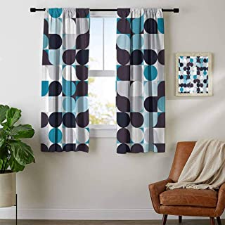 youpinnong Abstract, Curtains Darkening, Retro Inner Circles Pattern with Squares Mosaic Style Old Fashion Print, Curtains Girls Room, W63 x L45 Inch Brown Grey Teal White