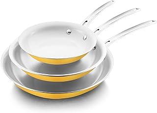 COOKER KING Ceramic Nonstick Frying Pan Set,yellow, Dishwasher Safe, Oven Safe, Toxin Free, PFOA Free, Stainless Steel Han...