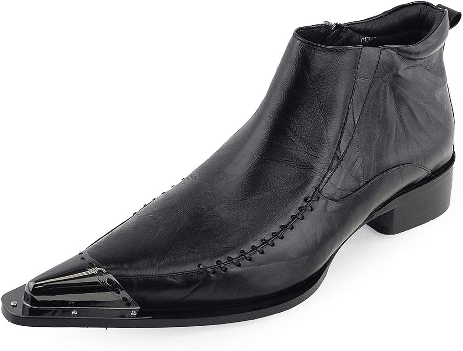 Men's Extravagant Pointed Toe Ankle Boots Metal Toe (color   Black, Size   11.5 UK)