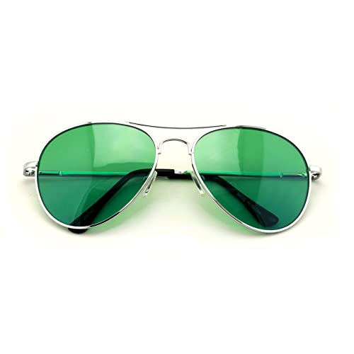 9bb378e3a8 VW Eyewear - Colorful Silver Metal Aviator With Color Lens Sunglasses