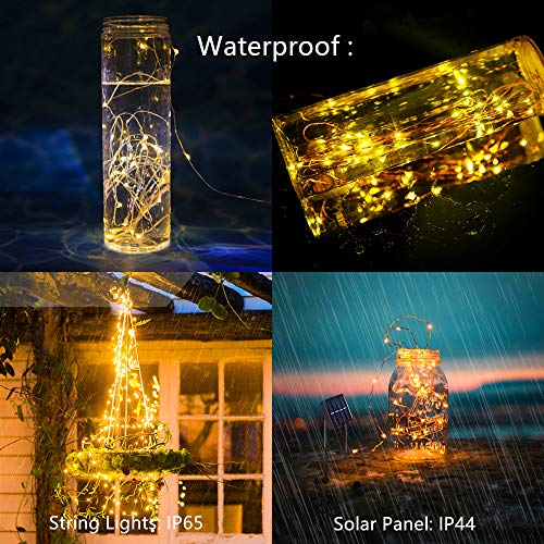 Coniwinli Solar Fairy String Lights,100 LED Copper Wire,Star Twinkle,Warm White 8 Modes Waterproof,Suitable for Indoor and Outdoor Decoration (33FT, Warm White)