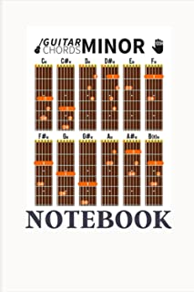 GUITAR CHORDS MINOR NOTEBOOK: Blank Guitar Tablature Writing Paper with Chord Charts, perfect for guitar enthusiasts, comp...