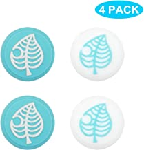 BRHE Thumb Grip Caps for Nintendo Switch/Switch Lite Controller,Joy-Con Joystick Caps Analog Stick Caps Joy Con Joystick Silicone Rubber Cover Set 4 Pack (Blue Leaves)