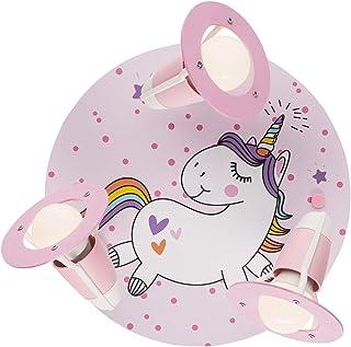 Lámpara de techo infantil, diseño de unicornio, color rosa, 3 focos, E14, para niñas