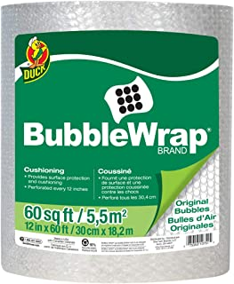 """Duck Brand Bubble Wrap Roll, Original Bubble Cushioning, 12"""" x 60', Perforated Every 12"""" (287007)"""