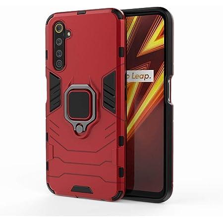 Ougger Realme 6 Pro ケースカバー 電話保護, 2in1 多機能 [車のマウント]タフなPC +ソフトTPUシリコン衝撃吸収鎧カバー, 磁気キックスタンドエクストリームプロテクションラバーバックシェル (赤)