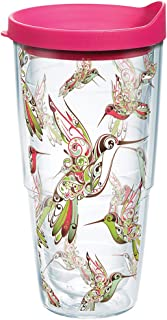 Tervis Hummingbirds Wrap 24Z Tumbler with Fuchsia Lid, 24oz, Clear