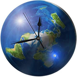 BaboLye Flat Earth with Sun, Moon & Polaris Round Home Decor Wall Clock 9.84inch