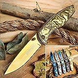 KCCEDGE BEST CUTLERY SOURCE EDC Pocket Knife Camping Accessories Razor Sharp Edge Unicorn Series Folding Knife Camping Gear Survival Kit 58458 (Gold)