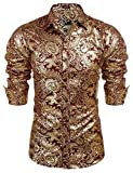Camisas de diseño de lujo para hombre, camisa de vestir floral casual con botones