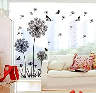 ufengke Black Dandelions and Butterflies Flying In The Wind Wall Decals, Living Room Bedroom Removable Wall Stickers Murals