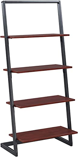 B07JGW9NHW✅Convenience Concepts 111289CH Graystone 4-Tier Ladder Bookcase, Cherry/Black Frame