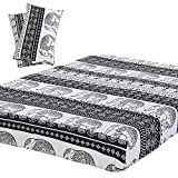 Vaulia Soft Microfiber Sheets, Printed Elephant Pattern, Black/White Full Size, 3-Piece Set ( 1 Fitted Sheet, 2 Pillowcases )