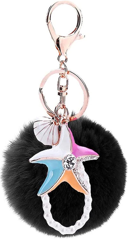 Seupeak Starfish Fluffy Keychain Max 48% OFF Pom Key Free shipping Charm Ring Pendant