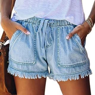 Womens Summer Denim Shorts Solid Color Drawstring Elastic...
