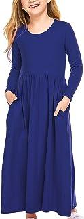 Balasha Little Girls Short Sleeve Solid Color Cotton Pleated Hem Dress Sleep Dress