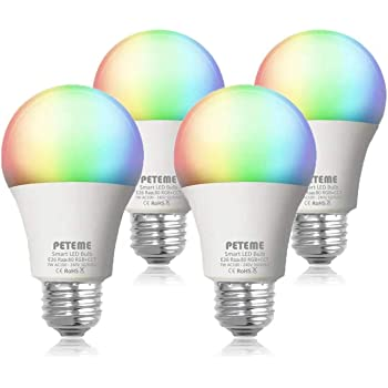 Smart Alexa Light Bulbs, Color Changing WiFi RGB Light Bulbs 2.4G(not 5G), Works with Alexa, Siri, Echo, Google Home (No Hub Required), E26 A19 60W Equivalent 4 Pack