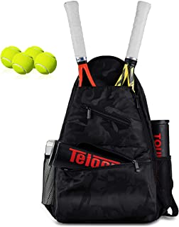FUMOXING Tennis Bag Premium Tennis Backpack with Shoe Compartment, 2 Racquet Racket-Bag with Protective Pad, Front Pocket for 2 Cans of 4-Ball, Multi-Pocket Design