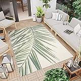 Tapiso Jungle Alfombra de Salón Comedor Terraza Design Moderno Verde Crema Hojas de Palma Sisal Fina 120 x 170 cm