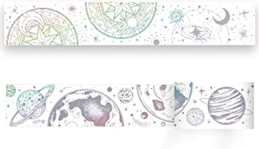 Magic Star Moon Universe Galaxy Planet Laser Silver Colorful Bling Glittering Washi Tape-2 Rolls- Decorative DIY Japanese Masking Scrapbook Notebook Sticky Paper Wide Washi Tape (Width:40mm)
