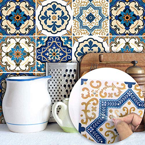Topmail 24 Stück Fliesenaufkleber Bad 15 x 15 cm Fliesensticker küche Badezimmer Blau Klebefolie Folie Aufkleber Sticker für Küche Bad Küchendeko (Blau)