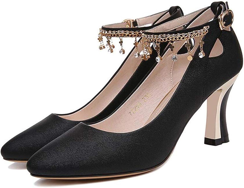 SXHDMY High-Heeled Sandals Women's Fashion Sexy Word Buckle Elegant Beaded high Heels (color   Black, Size   EU38 UK5.5 CN38)
