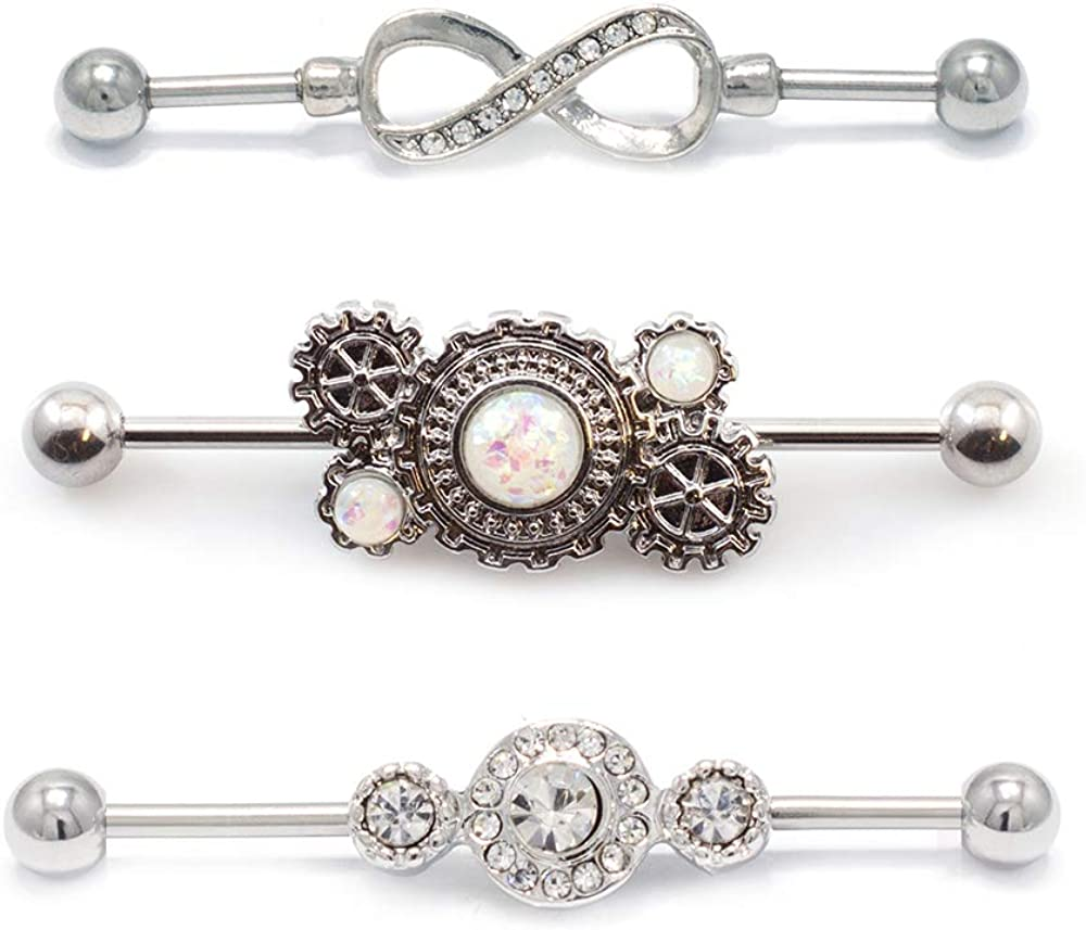 BodyJewelryOnline Industrial Piercing Barbell - 3-Pack 14ga Steampunk, Infinity and CZ Styles - 316L Surgical Steel
