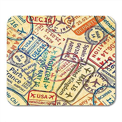 Mousepad-Muster-Los Bunte Internationale Reise-Visum-Stempel-Abdrücke Auf Alter Pass-Mausunterlage Matten 25X30Cm