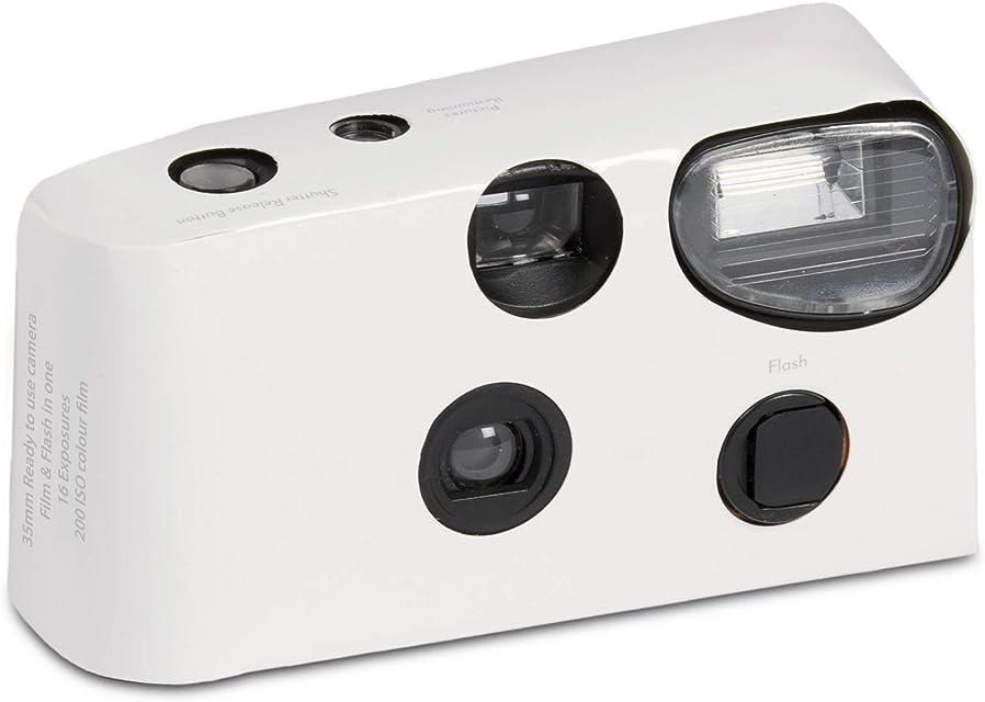 Pack de 10 cámaras desechables blancas con flash para bodas y fiestas.