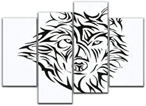 4 Panel Canvas Pictures Wolf head tattoo tribe Home Decor Gifts Canvas Wall Art for your Living Room