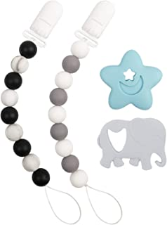 RTYUBV Baby Teething Soother Chains Clip Pacifier Clip Silicone Beads Infant Teether DIY Dummy Holder Chain
