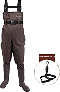 ANAZIGO Fishing Chest Waders,Hunting Bootfoot with Waterproof Nylon and PVC Waders for Men and Women with Boots