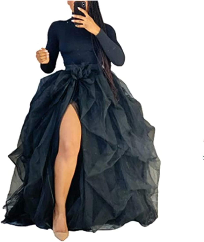 Womens Tulle Tutu Long Skirt 3 Layered High Waist Ruffle Skirts Floor Length Wedding Special Occasions Puffy Maxi Dress
