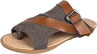 COOlCCI_2019 New ARRIVALWomen's Crisscross Strappy Buckle Cutout Stacked Low Wedge Sandal Women's Wedge Sandal