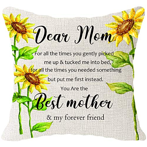Hysunland Body Burlap Decorative Square Throw Pillow Cases Covers with Sunflowers and Inspirational Words for Couch Bedroom Living Room,Cream, 18x18 Inch,1 Pack,Mothers Thanksgiving Gift