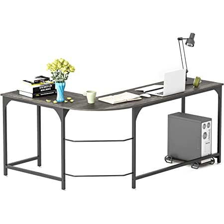 Amazon Com Teraves Reversible L Shaped Desk Computer Desk For Home Office Industrial Gaming Desk With Round Corner Kitchen Dining