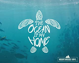 Sea Turtle Mandala Vinyl Decal - Mandala Surf Stickers, Beach Water Bottle Stickers, Hawaii Flask Stickers, Ocean Laptop Stickers, Waterproof Car Decal, Tumbler Sticker