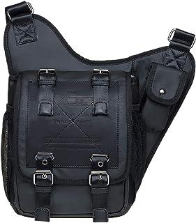KAUKKO Herren Crossbody Tasche Verstellbarem Schultertaschenk für Alltag, Festival & Sport 3.6 L Schwarz JNL-FH03-2-03-FBA