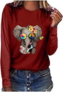 Womens Tops,Women Fashion Plus Size Print Round Neck Long Sleeved T-Shirt Blouse Tops