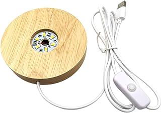 FAKEME Base de Madeira redonda Conduziu a Lâmpada de com Porta USB e Interruptor, Luz Moderno Noite Acrílico Ofício Levou ...