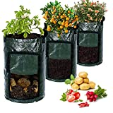 KONUNUS 3 Pack 10 Gal Potato Grow Bags Garden Planting Bag Vegetable Planter with Handles and Access Flap for Planting Vegetables Carrot Fruits Potatoes
