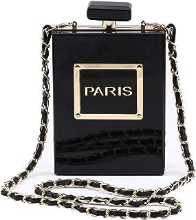 Women Acrylic Bag Black Paris Perfume Shape Evening Bags Purses Clutch Vintage Banquet Handbag