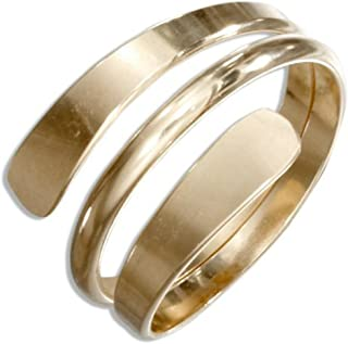 California Toe Rings Women's 14K Gold Filled Wrap Coil Bypass Adjustable Thumb Ring