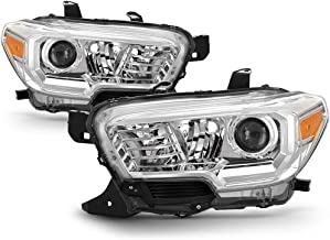 [For 2016-2019 Toyota Tacoma SR & SR5 Model] Chrome Housing OE-Style Projector Headlight Headlamp Assembly, Driver & Passenger Side