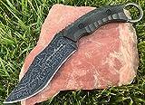 TACTICAL GEARZ TG Targaryen, 11' Bowie Hunting Knife w/Sheath! Solid 440c Stainless Steel Acid Etched Scimitar Blade! Full Tang w/Black Micarta Slab Handle!